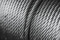 Clean new steel cable steel wire or steel rope, rope sling drum Royalty Free Stock Photo