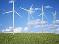 Clean planet wind turbine on sky background Royalty Free Stock Image