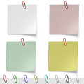 Clean sheets for records notes with paper clips on white background Royalty Free Stock Photo