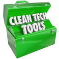 Clean tech tools toolbox renewable power energy resources words in a green metal to illustrate or that rely on and protect natural Stock Photography