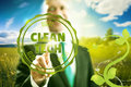 Clean technology pressing virtual screen business concept waste hierarchy Stock Photos