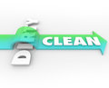 Clean vs dirty arrow over word cleanliness wins stay safe health on as and good opposite Stock Photo