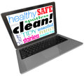 Clean words computer laptop screen safe website virus free on a or monitor including healthy spotless pure clear tidy perfect and Royalty Free Stock Photo