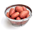 Cleaned red potatos clean potatoes in a strainer Royalty Free Stock Photography