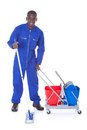 Cleaner cleaning with mop Royalty Free Stock Photo
