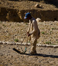 Cleaner is working on the path to petra jordan Stock Photography