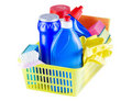 Cleaners in the basket Stock Images