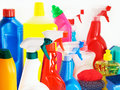 Cleaning agents against a white background Royalty Free Stock Photo
