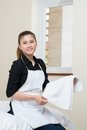 Cleaning the apartment vertical portrait of a young housekeeper inside Royalty Free Stock Photography