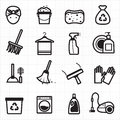 Cleaning black icons Royalty Free Stock Photo