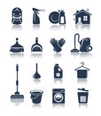 Cleaning blue icons editable vector set Royalty Free Stock Image
