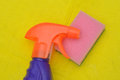 Cleaning bottle sponge and pink Stock Photography