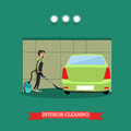 Cleaning car interior vector illustration in flat style