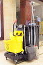 Cleaning cart at shopping mall Royalty Free Stock Photography