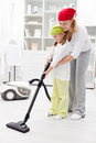 Cleaning day in the family Stock Photography