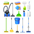 Cleaning Equipment Kit Flat Icons Set Royalty Free Stock Photo