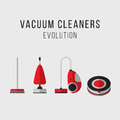 Cleaning equipment set. Vacuum cleaners evolution. Icons. Flat style.
