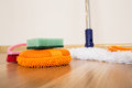 Cleaning equipment set of on a wooden floor Stock Photos