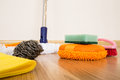 Cleaning equipment set of on a wooden floor Stock Images