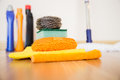 Cleaning equipment set of on a wooden floor Stock Photo