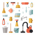 Cleaning flat vector icons square set.