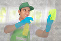 Cleaning glass using using soft microfiber cloth attractive male Stock Images