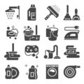 Cleaning gray icons set. Laundry, Sponge and Vacuum cleaner signs. Washing machine