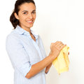 Cleaning hands with a towel Royalty Free Stock Photo