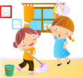 Cleaning house illustration of two happy kids Royalty Free Stock Photos