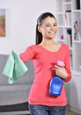 Cleaning the house women finish attractive girl looking at camera ok sign Royalty Free Stock Photo