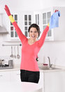 Cleaning the house women kitchen woman worker happy attractive girl looking at camera Royalty Free Stock Photo