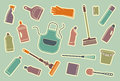Cleaning icons of accessories and means for on stickers Stock Images