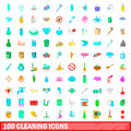 100 cleaning icons set, cartoon style
