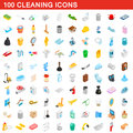 100 cleaning icons set, isometric 3d style