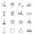 Cleaning icons set, modern line, sketch, doodle style. on white background. Vector illustration Royalty Free Stock Photo