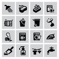 Cleaning icons vector black set on gray Royalty Free Stock Photos