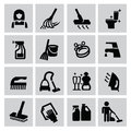 Cleaning icons vector black set on gray Stock Photography