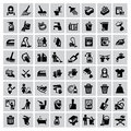 Cleaning icons vector black set on gray Royalty Free Stock Images