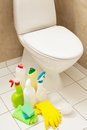 Cleaning items gloves brush white toilet bowl bathroom Royalty Free Stock Photo