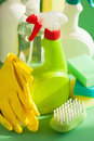 Cleaning items household spray brush sponge glove Royalty Free Stock Photography
