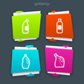Cleaning items and other related tools from left to right bleach bottle bleach bottle disinfectant bottle bleach bottle Stock Photo