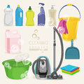 Cleaning kit icons. Supplies.