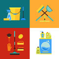 Cleaning Kit Set. Flat Design StyleVector