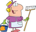 Cleaning lady cartoon character Royalty Free Stock Photography