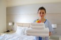 A cleaning lady in a hotel room Royalty Free Stock Photo