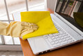 Cleaning a laptop Royalty Free Stock Photo