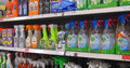 Cleaning liquids in a store or shop various bottles of liquid for sale on display Stock Photo