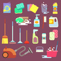 Cleaning maid equipment or service vector flat icons