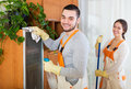 Cleaning premises team to work happy in uniform is ready Royalty Free Stock Photos