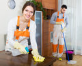 Cleaning premises team to work smiling is ready in room Stock Images